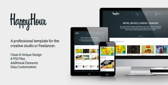 InHappyHour - Responsive Retina Ready HTML Template Creative