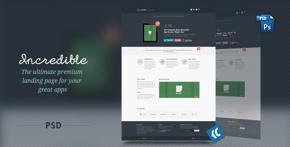 Incredible - The ultimate premium landing page PSD
