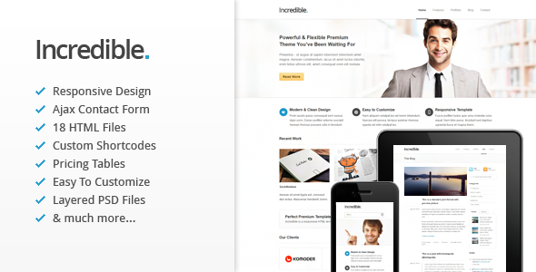 Incredible - Responsive HTML Template Corporate