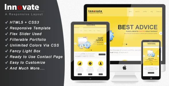 Innovate - Fully Responsive Website Template Corporate