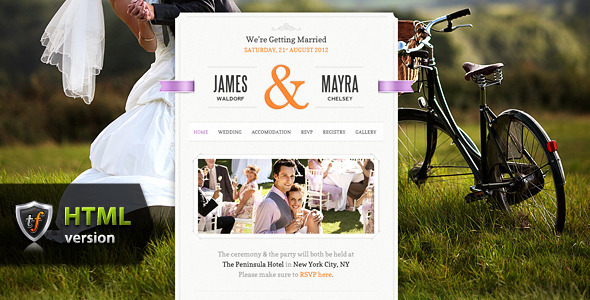 Just Married - Wedding Event HTML Theme Template Entertainment