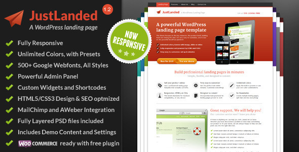 JustLanded - WordPress Landing Page Corporate