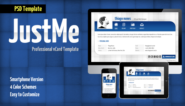 JustMe Professional vCard PSD Personal