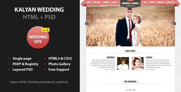 Kalyan One page HTML5 Wedding Template Entertainment