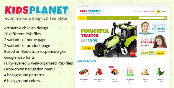 Kids Planet - eCommerce & Blog PSD Template Retail