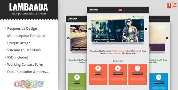 Lambaada - Responsive Multipurpose/Portfolio Theme Template