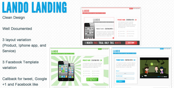 Lando landing page with facebook template LandingPages Landing Page