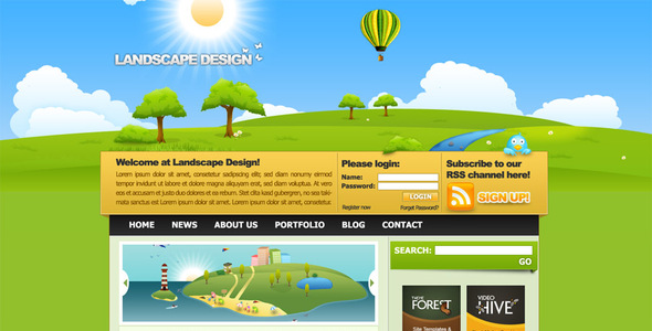 Landscape Design Drawn Style Template Creative PSDTemplates
