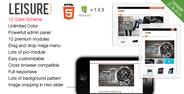 Leisure - Responsive HTML5 Prestashop Theme Shopping