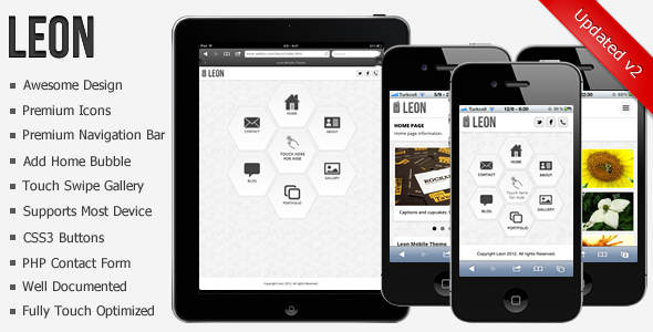 Leon Mobile Web Theme Template Mobile
