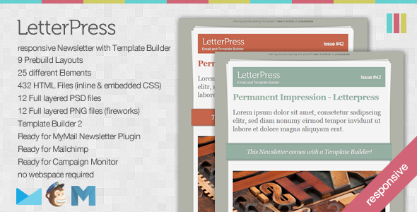 LetterPress - Responsive Newsletter with Template Builder EmailTemplates