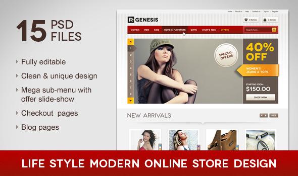 Life Style Modern Online Store Design Retail PSDTemplates