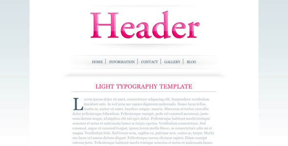 Light Typography Template