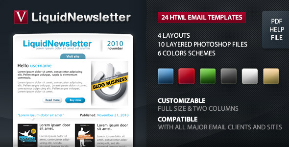 Liquid Newsletter - Email - Full size & 2 columns EmailTemplates