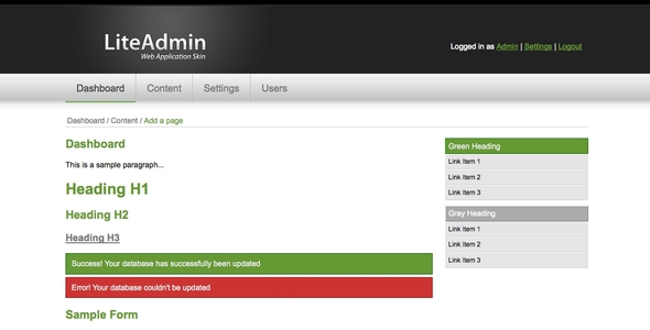 LiteAdmin - Web Application Skin