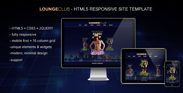 Lounge Club - HTML5 Responsive Site Template Entertainment