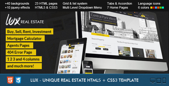 Lux - Huge and Unique Real Estate HTML Template Corporate