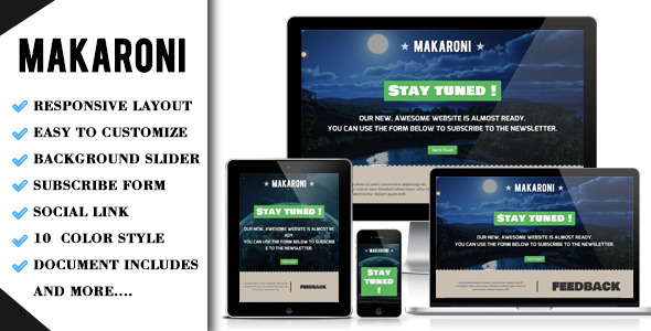Makaroni - Responsive Underconstruction Template Specialty Page