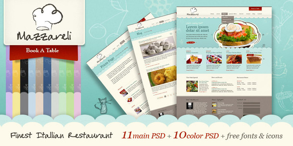 Mazzareli - Restaurant & Cafe PSD Template Entertainment