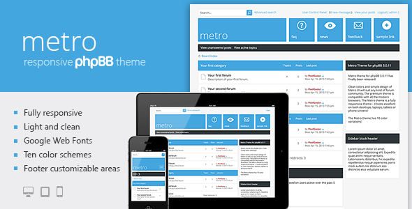 Metro — A Responsive Theme for phpBB3 Forums PhpBB