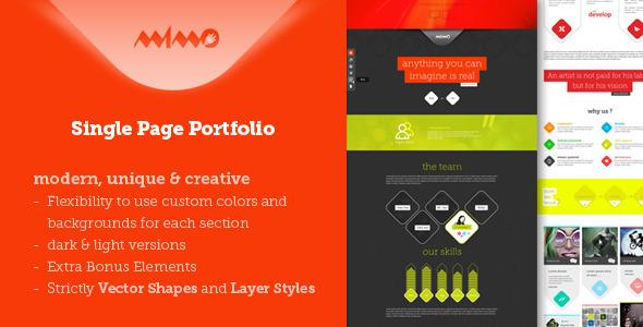 Mimo Single Page Portfolio PSD Creative