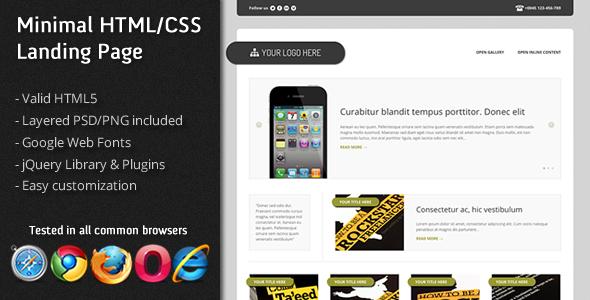 Minimal HTML/CSS Landing page