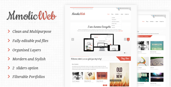 Mmolic web - Creative and Clean  Psd Template Creative