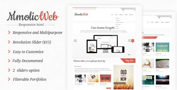 Mmolic Responsive css3 multipurpose theme Template Creative