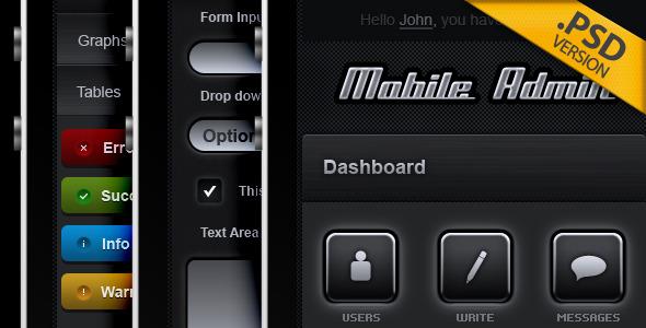 Mobile Admin Technology PSDTemplates