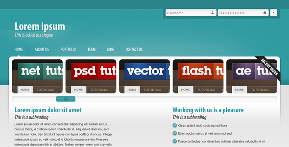 Modern blue Portfolio theme Creative PSDTemplates