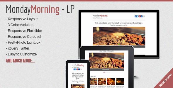 MondayMorning - Food Responsive Landind Page LandingPages Landing Page