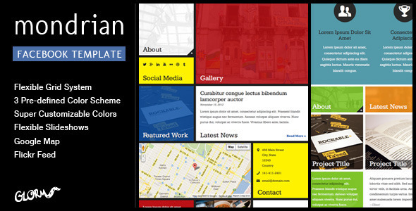 Mondrian - HTML/CSS Facebook Template Corporate