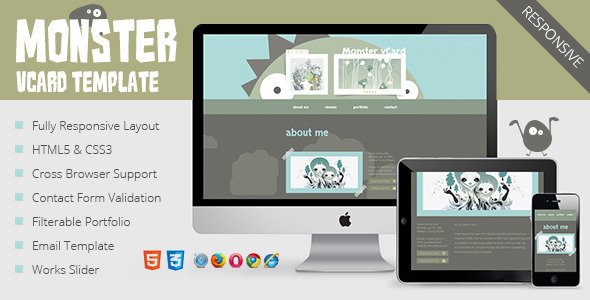 Monster vCard Template SiteTemplates