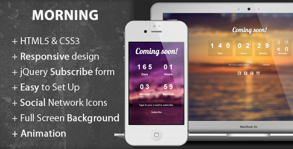 Morning - Coming Soon Page Template Specialty Page