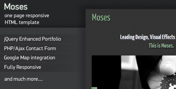 Moses - Responsive One Page HTML Template Creative