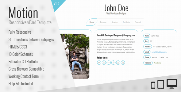 Motion - Responsive vCard Template Personal