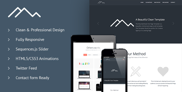 Mountainhead - Responsive One Page HTML Template Creative