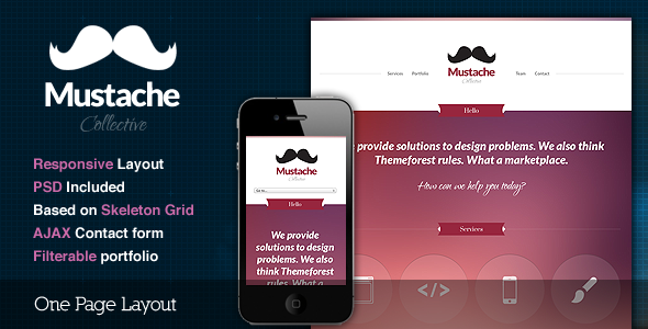 Mustache - Responsive One Page HTML Template Creative