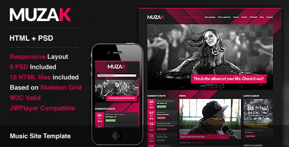 Muzak - Premium Music Site Template Entertainment