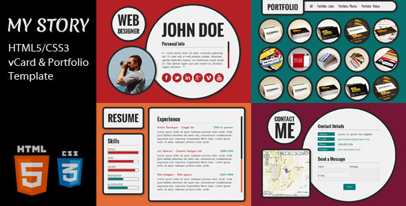 My Story - HTML5/CSS3 vCard & Portfolio Template Personal