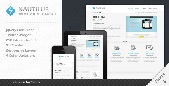 Nautilus One Page Responsive Business Template Corporate