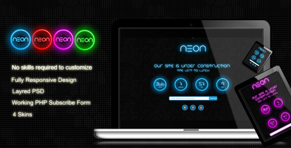 Neon - Responsive Under Construction Page Template Specialty Page