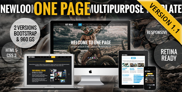 New Look - One Page Responsive Website Template Creative