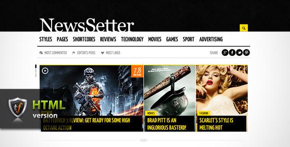 NewsSetter - News, Technology & Reviews HTML Theme Template