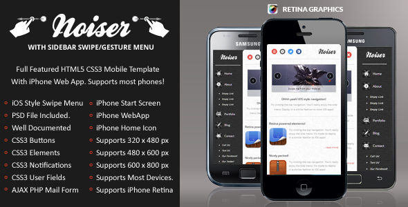 Noiser Mobile Retina | HTML5 & CSS3 And iWebApp Template