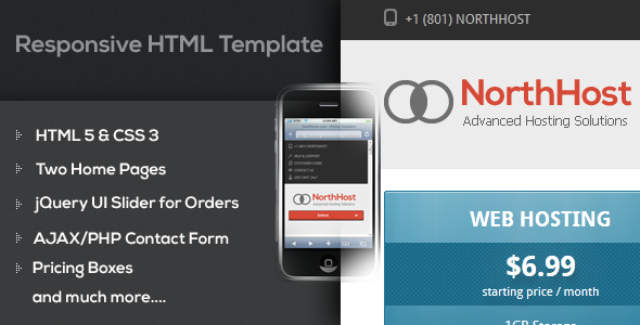 North Host - Web Hosting, Responsive HTML Template Technology