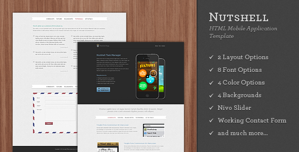 Nutshell App - HTML Mobile Application Template LandingPages