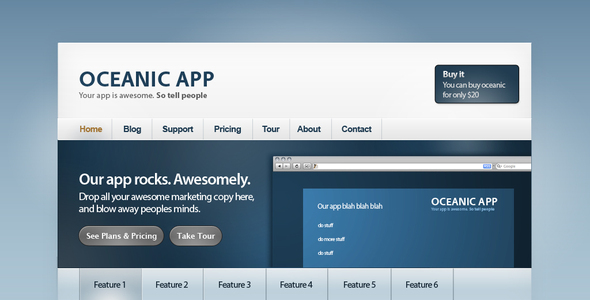 Oceanic: Web app site Technology PSDTemplates