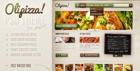 Olipizza - Really tasty PSD theme in 4 colors Retail