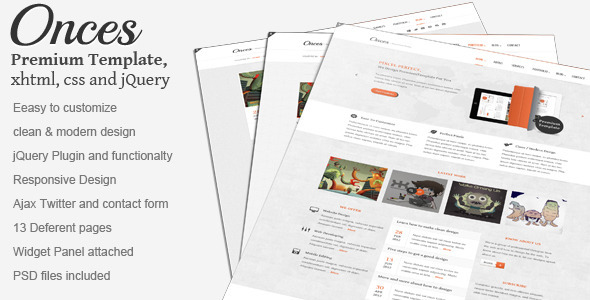 Onces: Modern and Clean responsive xhtml template Creative